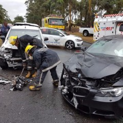 FOUR PEOPLE INJURED IN HEAD ON COLLISION ON THE M1 HIGGINSON HIGHWAY